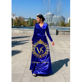 "Blue designer dress from the collection ""Autumn 2020"""