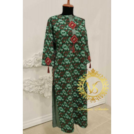 Designer green satin dress from the Holiday collection