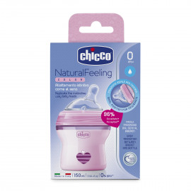 Chicco Natural Feeling 0m+ baby bottle 150ml with silicone teat (plastic) pink