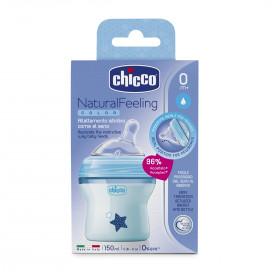 Chicco Natural Feeling 0m+ baby bottle 150ml with silicone teat (plastic) blue